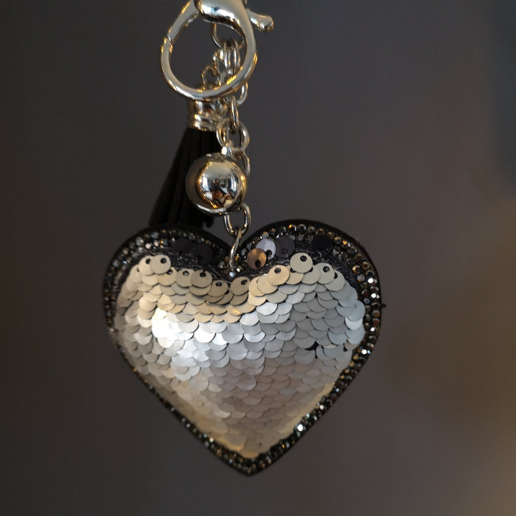 Silver & Black Sequin Heart Keyring