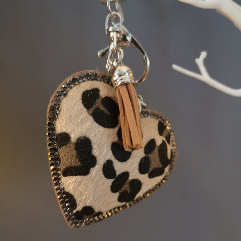 Animal Print Faux Fur Heart Keyring