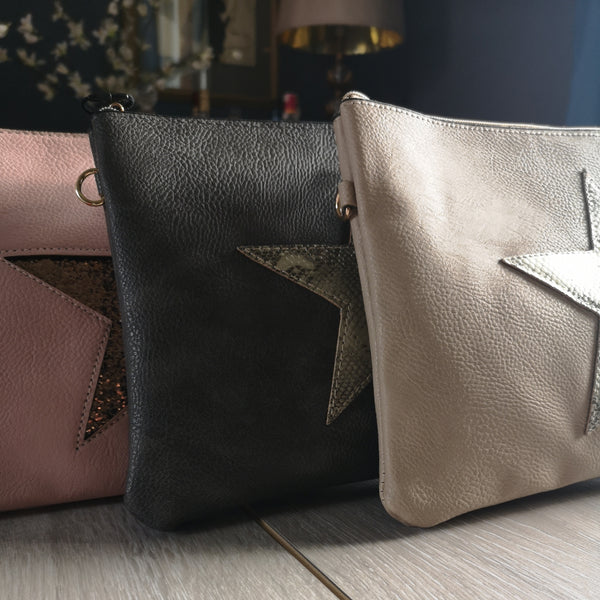 Faux Leather Star Clutch Bags