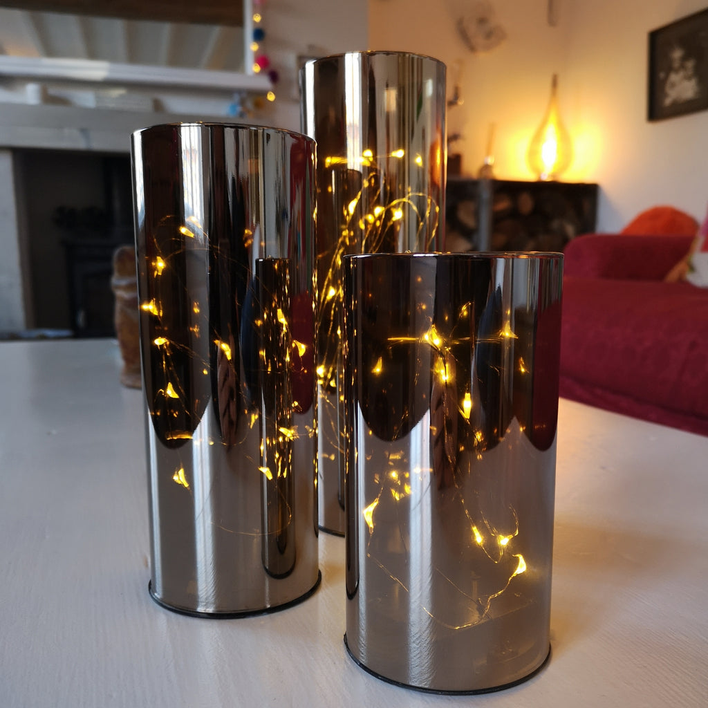 Smoky LED Cylindrical Lamp