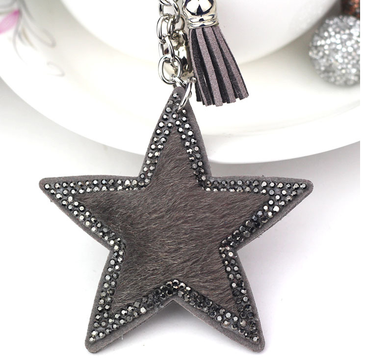 Grey Faux Fur Star Keyring