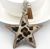 Animal Print Faux Fur Star Keyring