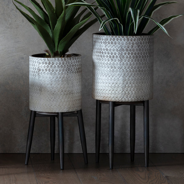 Shaded White Metal Planter
