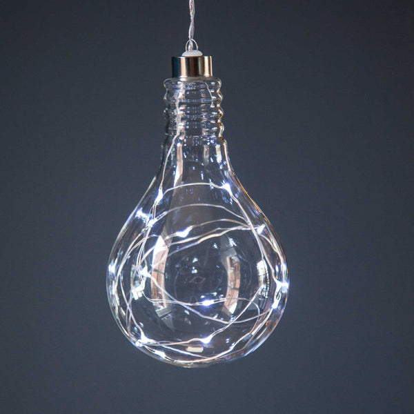 Single Hanging LED Bulb Silver