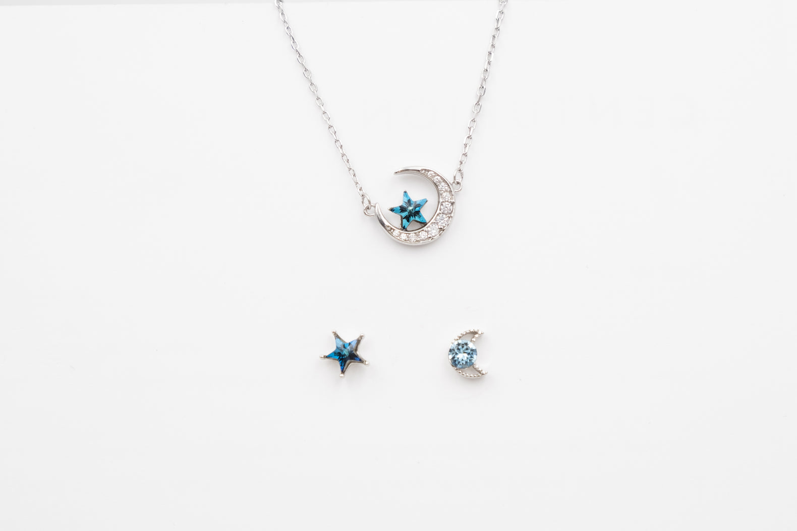 Blue Star & Moon Necklace