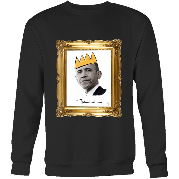 Barack Obama with Crown Crewneck Sweatshirt - Black Excellence Series - Simone's Nook