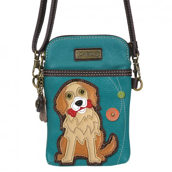 Chala Cell Phone Crossbody/Purse, Golden Retriever - Turquoise