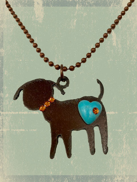Necklace, Rusted Metal, Dog