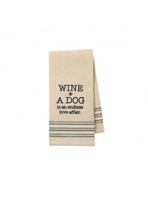 Dishtowel - Wine & A Dog
