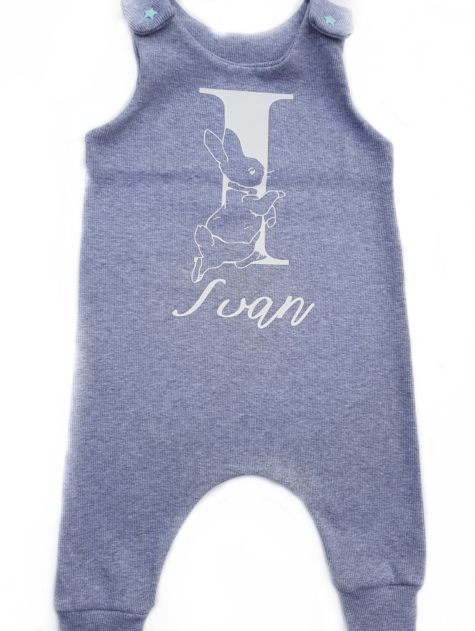 Customised grey initial and name Peter Rabbit Long legged romper