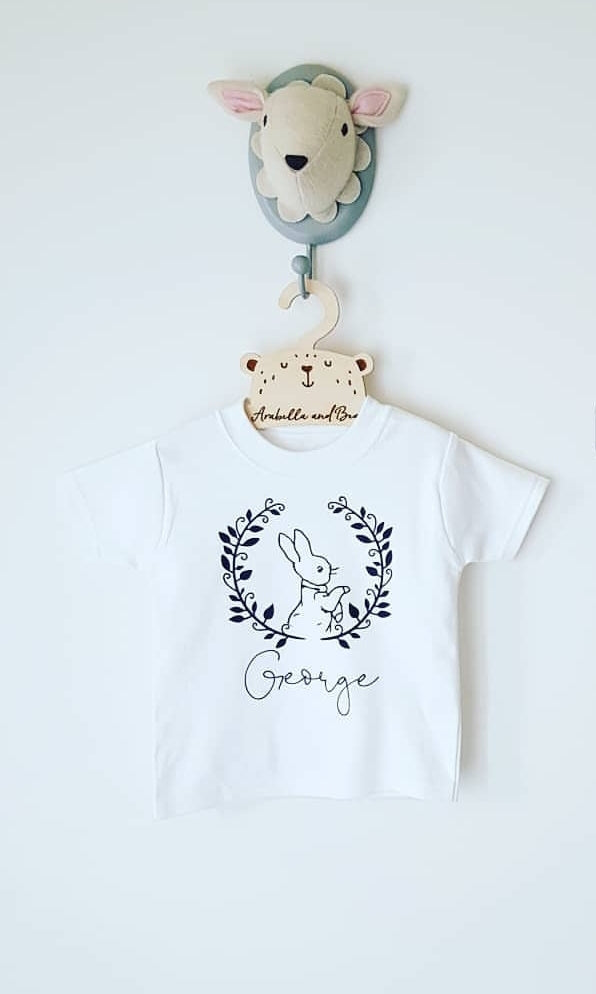 Custom Peter Rabbit name tee in white or grey