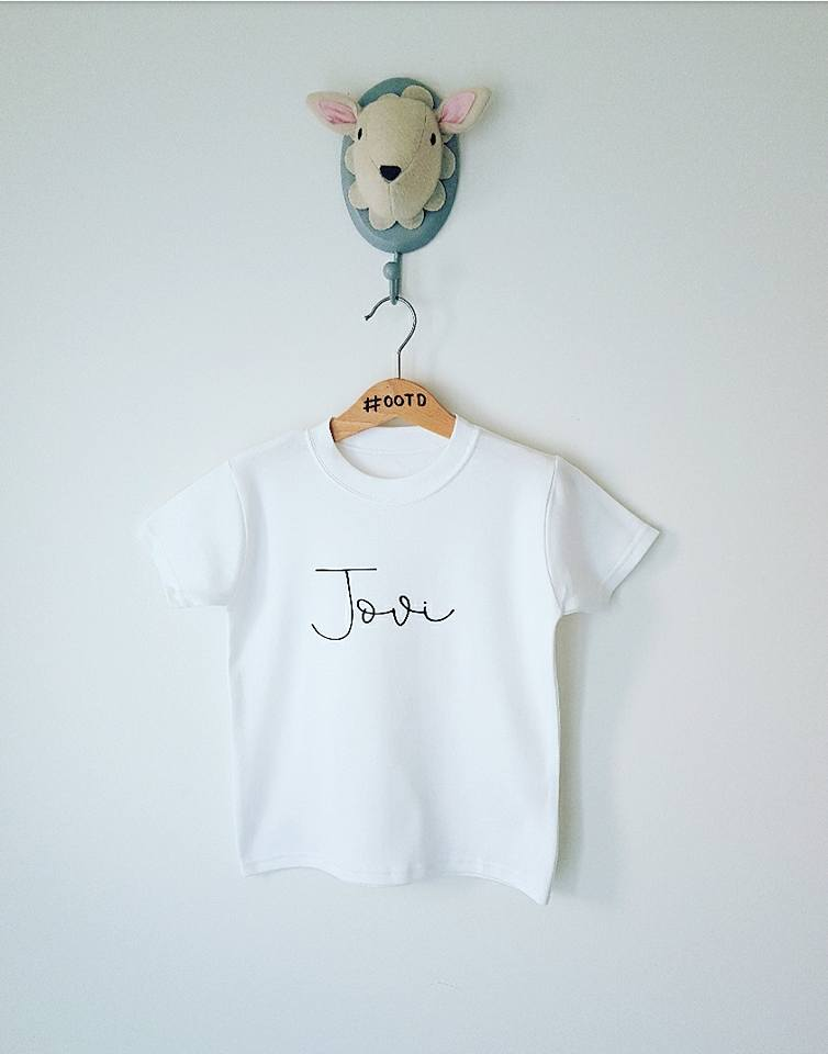 Custom scribble name tee white or grey