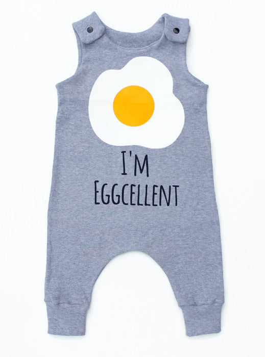 I'm Eggcellent grey ribbed long legged romper