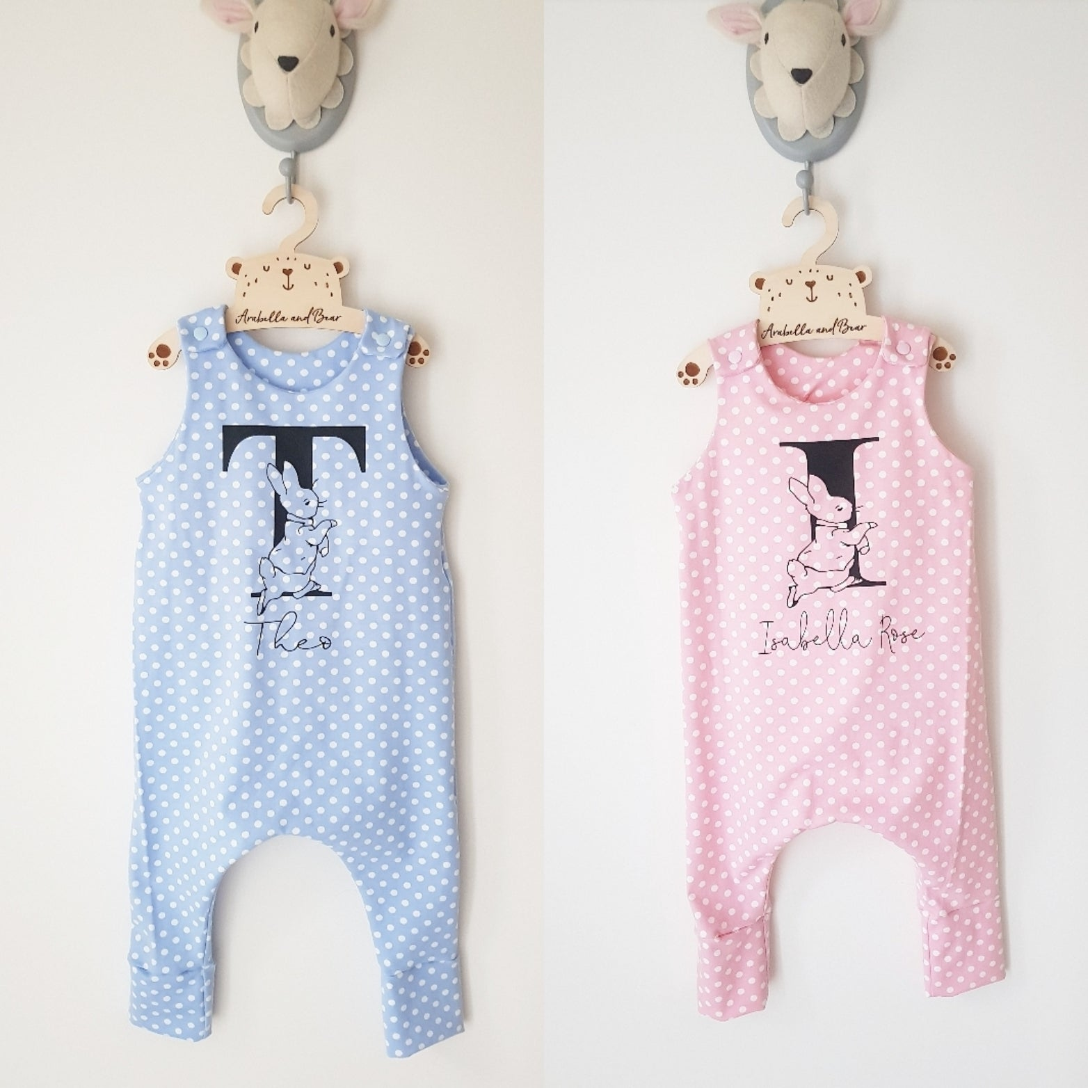 baby girls pink handmade peter rabbit romper outfit 6-9 months