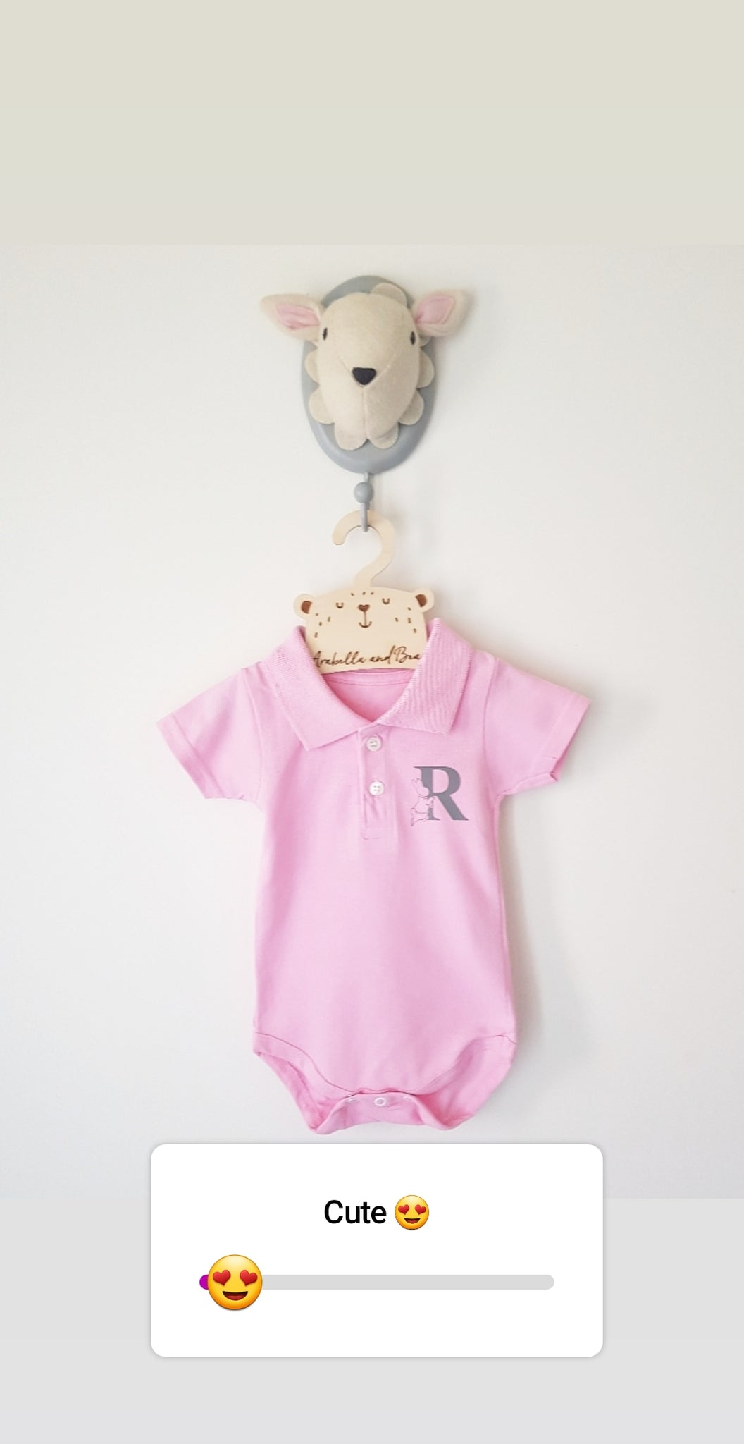 Baby pink custom Peter Rabbit polo bodysuit