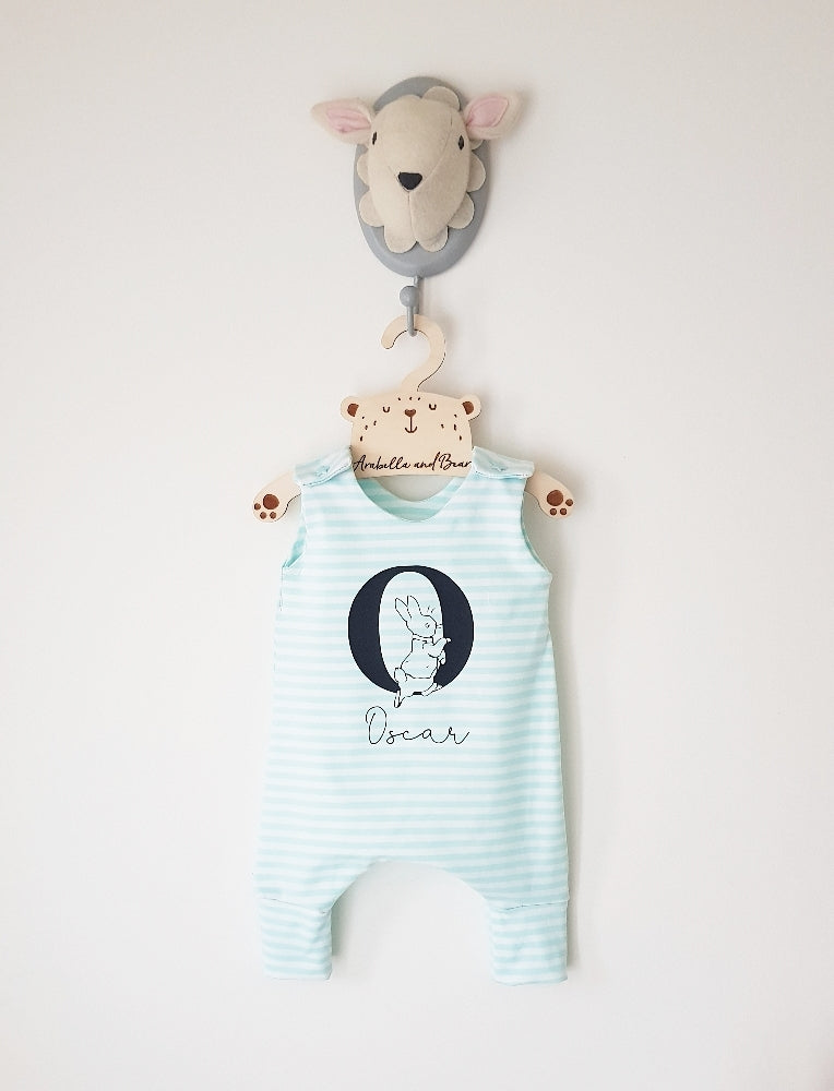 Summer stripe Peter Rabbit, blue or pink customised romper