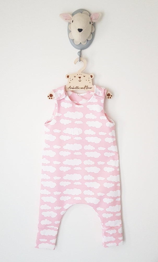 Baby Pink cloud long or short romper