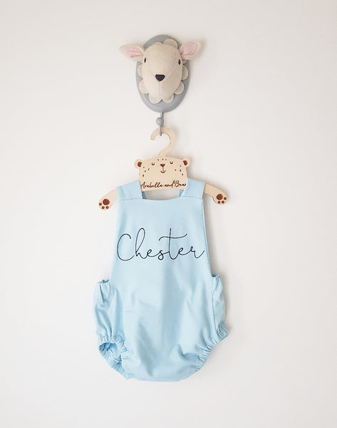 Baby blue scribble name bubble romper