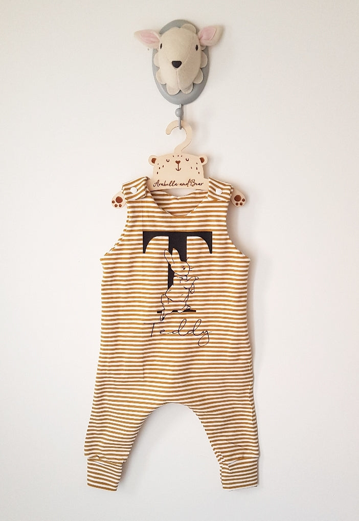 Peter Rabbit mustard striped romper or dungarees