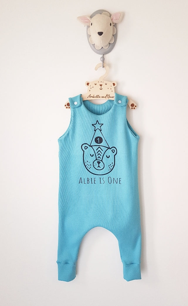 Turquoise Birthday Bear romper with childs name and age