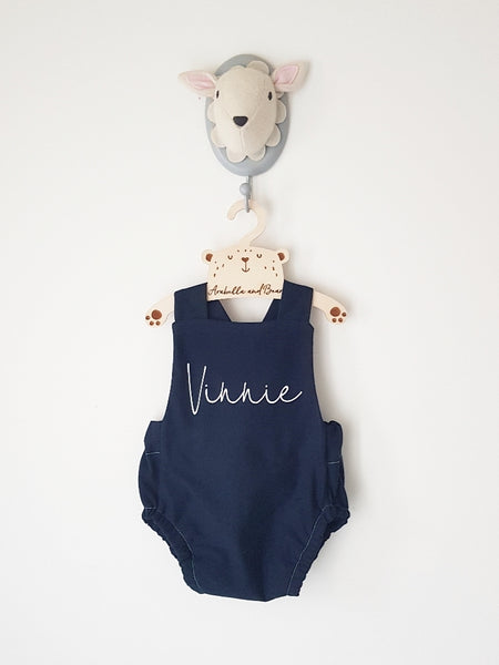 Navy blue scribble name bubble romper