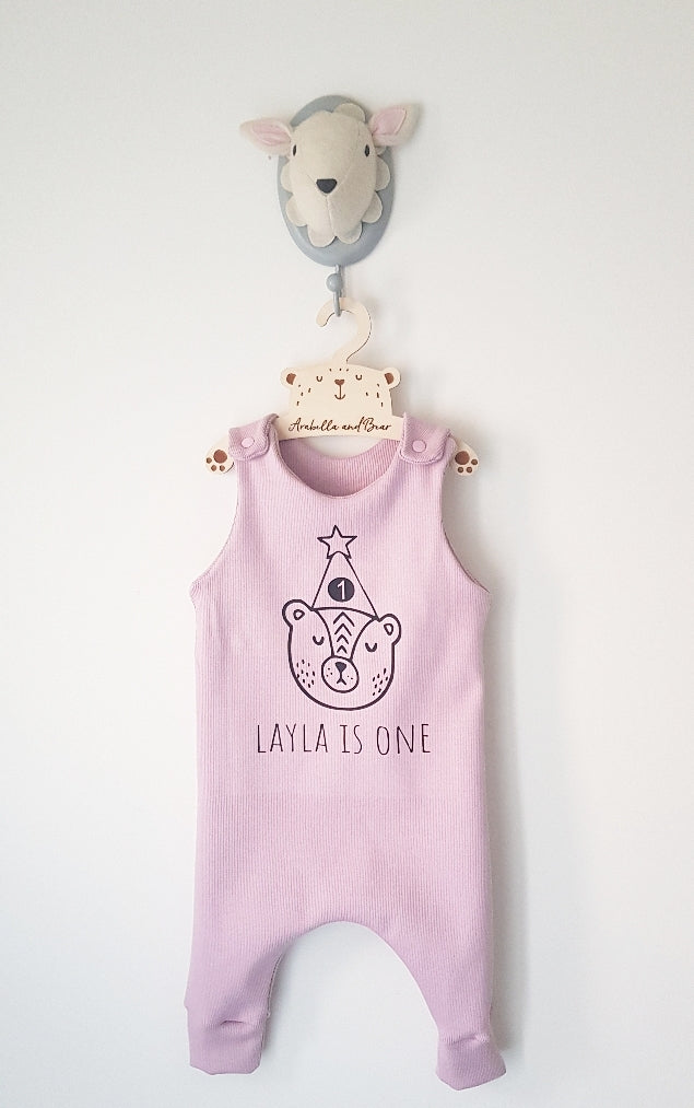 Dusky pink Birthday Bear romper with childs name and age