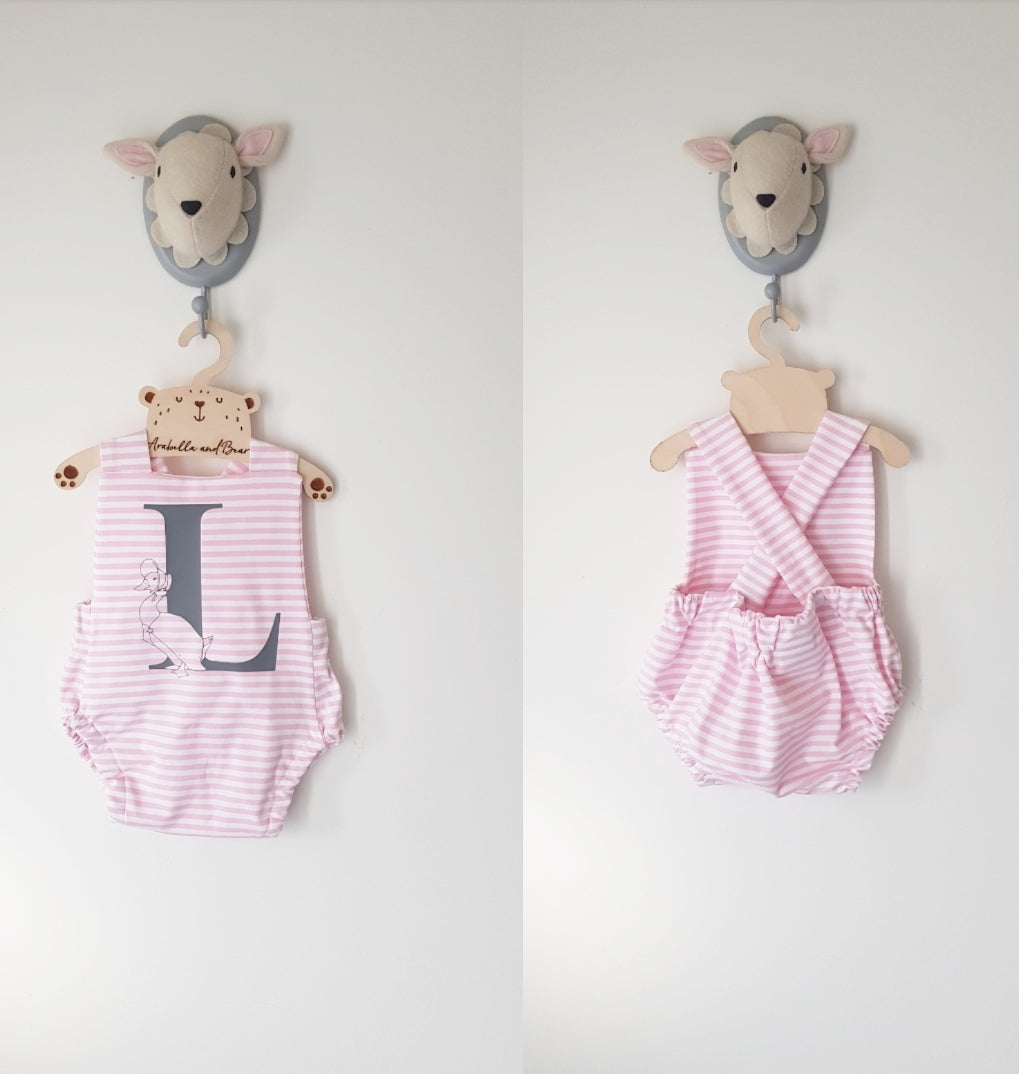 Custom pink striped Jemima Puddleduck bubble romper