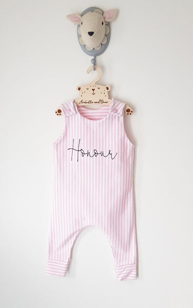 Scribble name candy stripe romper , blue or pink
