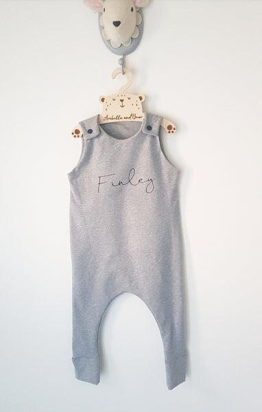 Grey scribble name romper
