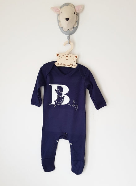 B is for Baby- navy  - Unisex - Peter Rabbit - all in one - loungewear