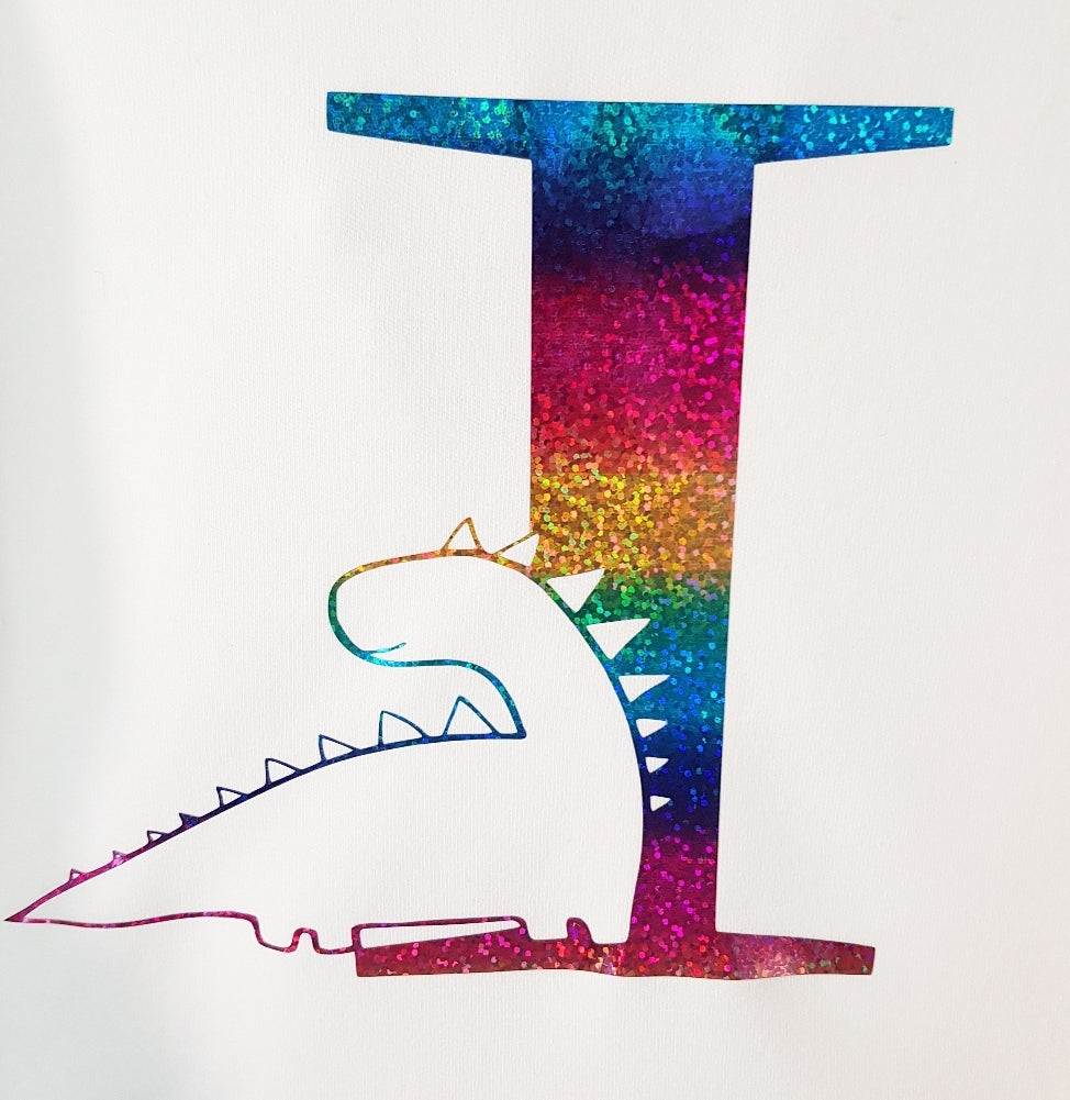 Rainbow Dinosaur top - long - short sleeved