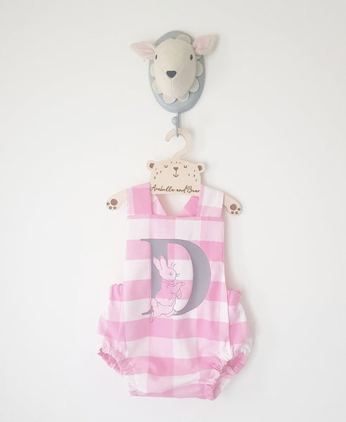 Pink check Peter Rabbit cross over bubble romper