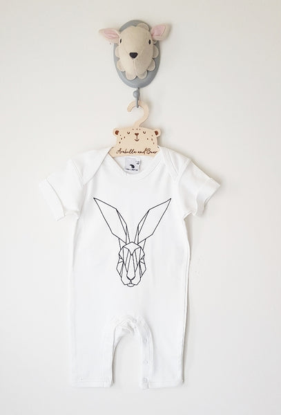 Origami Hare footless romper - long or short sleeved