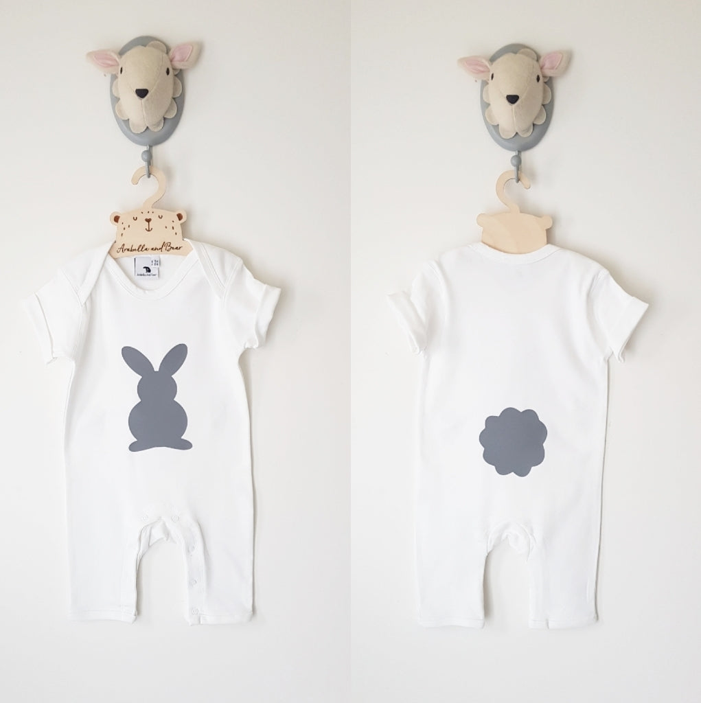 Grey Bunny footless romper - long or short sleeved
