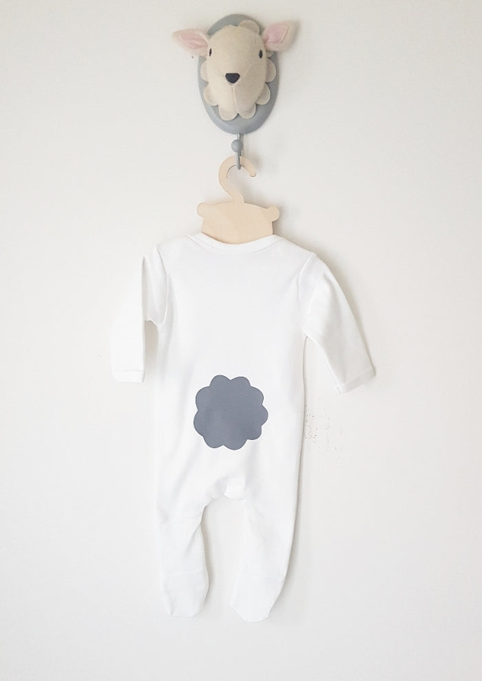 Grey Bunny footy romper - long or short sleeved