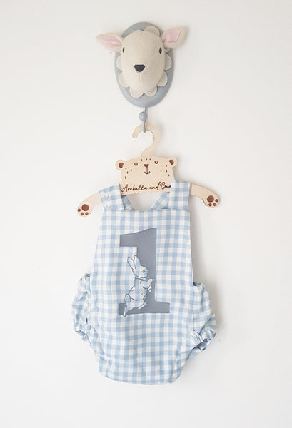 Birthday blue check Peter Rabbit cross over bubble romper