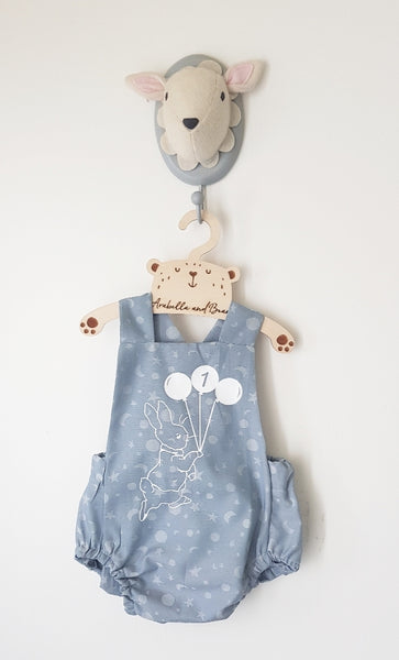 Peter Rabbit moon and stars blue birthday bubble romper