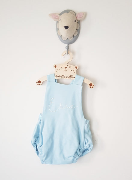 Baby blue - white - scribble name bubble romper