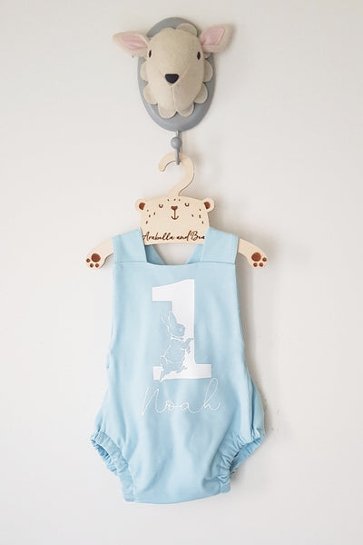 Peter Rabbit blue or pink birthday bubble romper