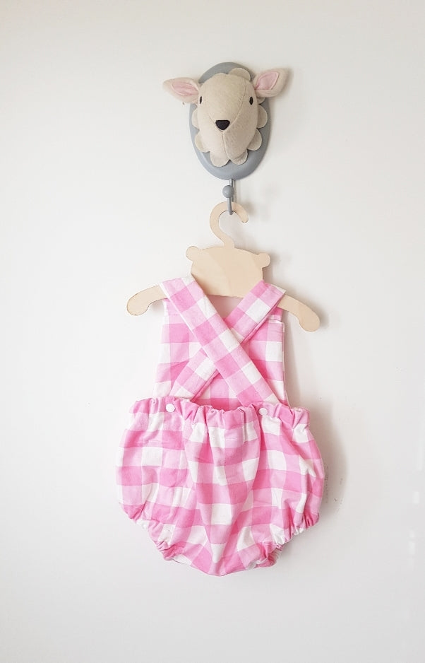 Birthday pink check Peter Rabbit cross bubble romper