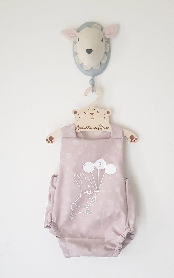 Peter Rabbit moon and stars pink birthday bubble romper