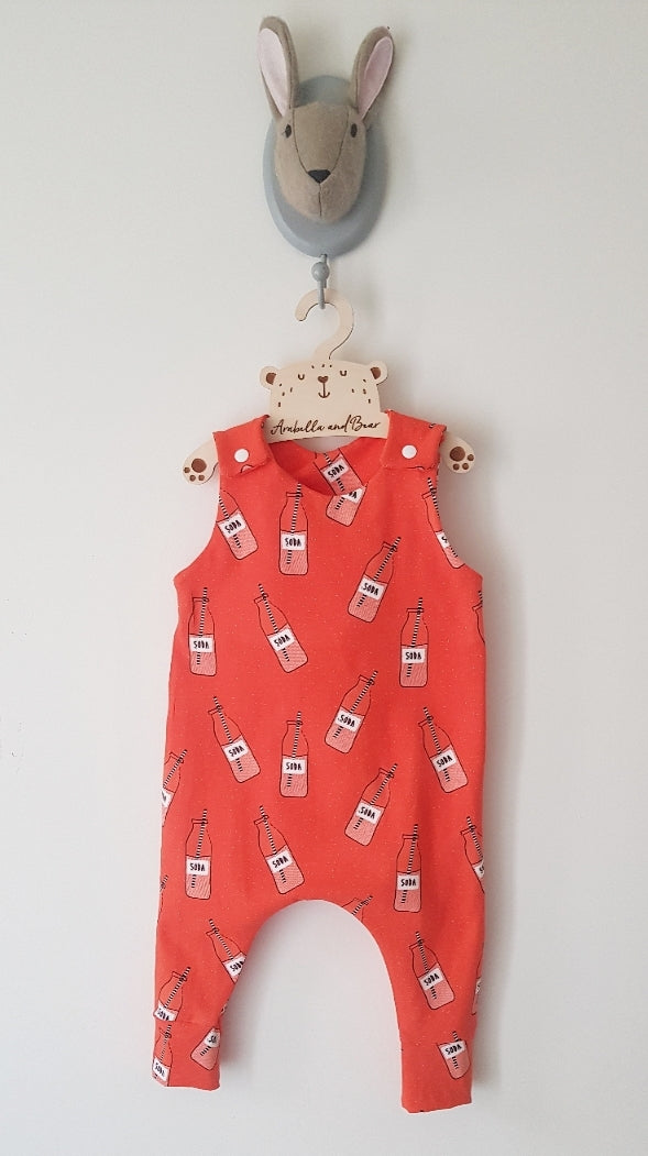 Orange soda pop romper or dungarees