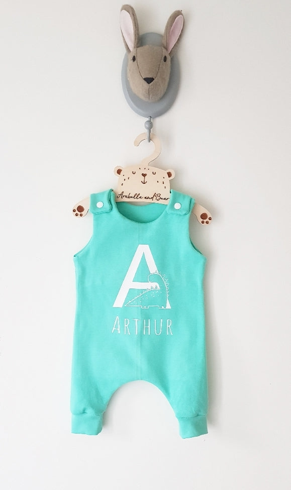 Custom Dino mint romper or dungarees