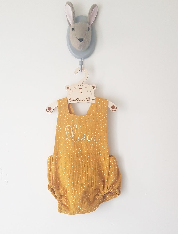 Mustard dotty scribble name bubble romper