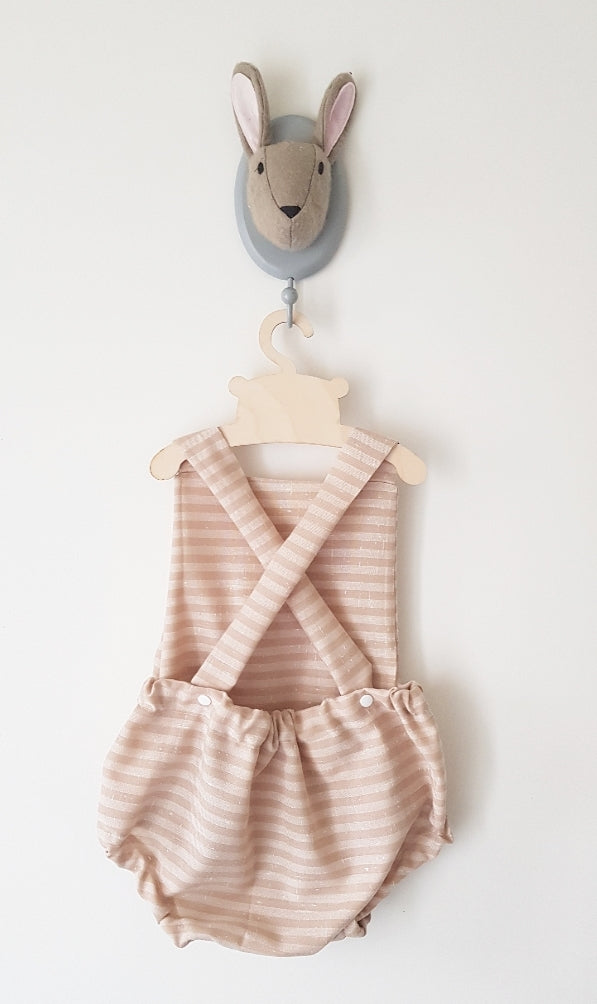 Rustic linen stripe scribble name bubble romper