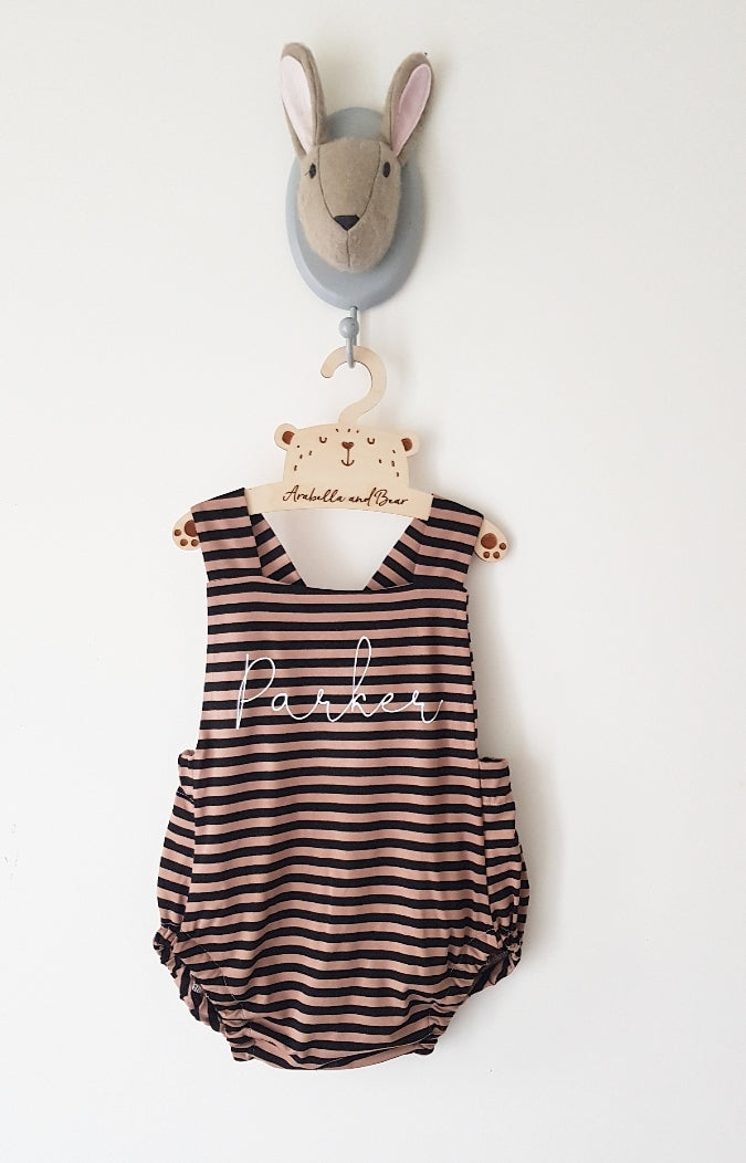Bourbon cream scribble name bubble romper