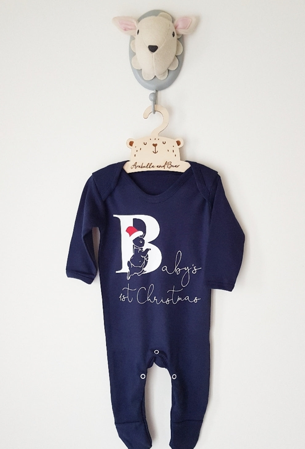 Navy blue Baby's 1st Christmas - Unisex - Peter Rabbit - all in one - loungewear