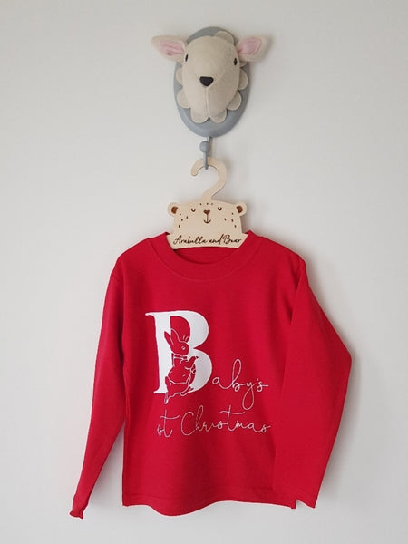 Baby's 1st Christmas Peter Rabbit top - red -