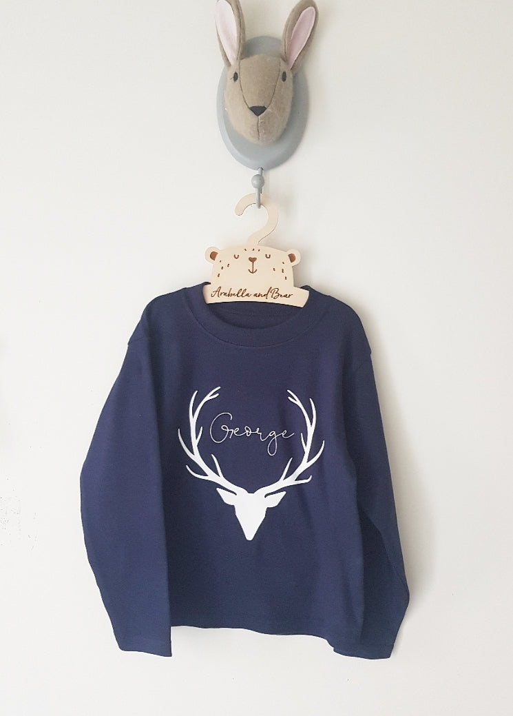 Stag Antler name top - winter - christmas