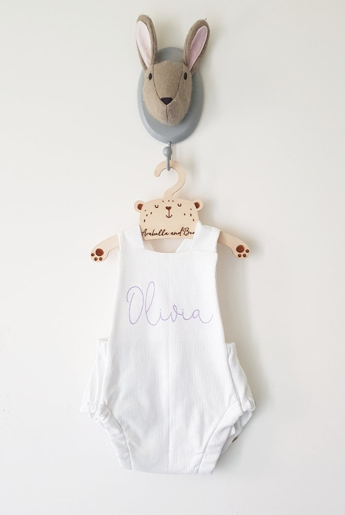 White and Lilac scribble name bubble romper